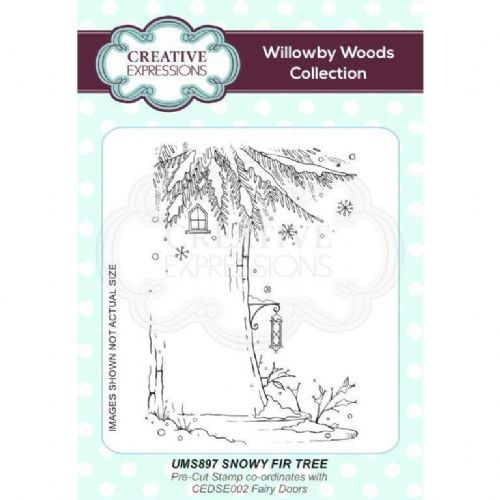 Willowby Woods - Snowy Fir Tree A6 Pre Cut Rubber Stamp